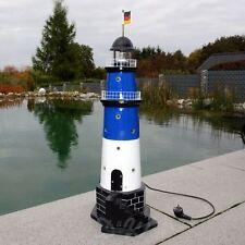 GARTEN LEUCHTTURM BÜSUM SYLT 85 cm DOPPELLICHT blau weiß Deko MEER maritim
