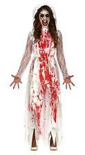 Señoras Sangriento Disfraz De Novia Zombie Reina del Baile de graduación Carrie Halloween Vestido de fantasía 10-16