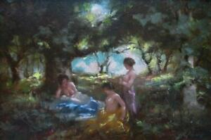 Joseph Lane (A Pair) -Nymphs in Wooded Landscape -Two Early Works -circa 1918