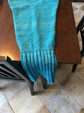 Girls Blue Knit Mermaid Tail Blanket. Look!!