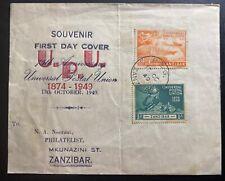 1949 Zanzibar First Day Cover FDC Universal Postal Union UPU