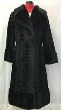 Vtg Faux Shaved Curly Lamb Fur Coat Black Long Women Medium Mod Swing 3/4 Sleeve