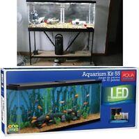 Complete 55 Gallon Aquarium Kit LED Fish Tank Water Bowl Kit Fishes Starter New