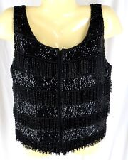 Flapper Beaded Black Top Vest Vintage 50s 60s Medium