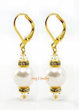 White Swarovski Pearl Drop Earrings Gold Plate