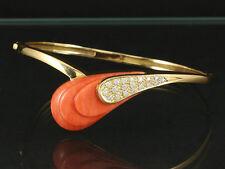 Künstlerschmuck Brillant Armreif mit Koralle von Krauss   25g 750/- Gelbgold