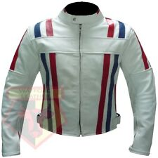 Custom 7244 White Motorbike Motorcycle Biker Armoured Cowhide Leather Jacket M
