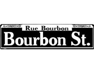 "TIN METAL SIGN ""Bourbon Street Rustic"" New Orleans Shop Market French Quarter"