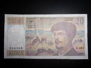 """RARE Alphabet """" C.031 """"  20 Francs Debussy 1990"""