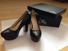 Wittner Grease Baby 100% Leather Black Pump Block Heels Wmn Sz 5 RRP $169.95