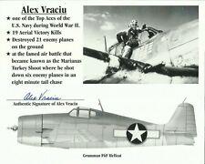 More details for 1918-2015 alex vraciu, us navy flying ace, photocard, originally signed!