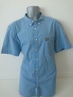 Mens LYLE & SCOTT Short Sleeved Button Up Blue Mix Check Shirt Casual XXL 2XL