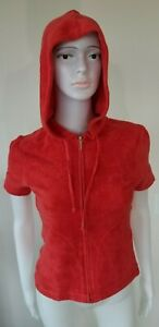 JUICY COUTURE LIQUID CARGO TERRY SHORT SLEEVE HOODIE SIZE S NEW!!!!