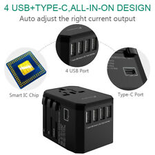 Smart Universal International Travel Adapter 3.4A 4 USB+Type C Charger