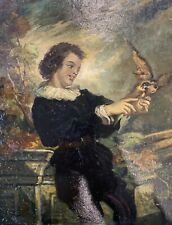 "Antique oil on panel Northern Italian 11"" painting of a Boy w/Peregrine falcon"