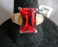 COCKTAIL RING DAINTY DESIGNED RADIANT RED ORANGE STONE/WHITE BAGUETTE GOLD S.  7