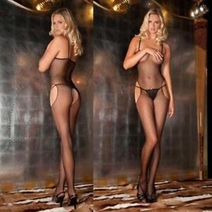 RENE ROFE DOUBLE FISHNET OPEN CROTCH BODYSTOCKING New One Size