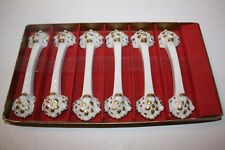 Set of 6 Limoges Porcelain Knife Rests Gold Accents