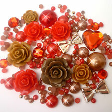 14g Red+Brown Pearls/Roses Flatback Kawaii Cabochons Decoden Crafts Kitsch