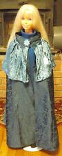 Teal Floral Satin Cloak with Penne Mantle for Child, Teen or Small Adult FSGC26