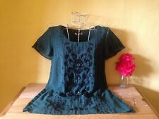 New Per Una size 12 black green sheer sequinned beaded embroidered floral top