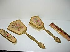 Antique/ Vintage Brass wood Vanity set 2 hair brushes comb mirror Made England