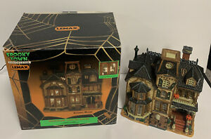 Lemax Spooky Town Greaves Manor Manoir De Greaves Porcelain Lighted House Tested