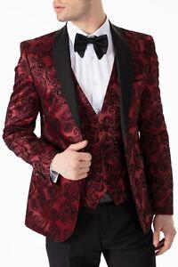 Jack Martin - Red Paisley Printed Velvet Dinner Jacket / Tuxedo