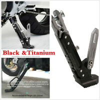 Motorcycle Black &Titanium Adjustable Side Tripod Holder Stand Fall Protect Foot