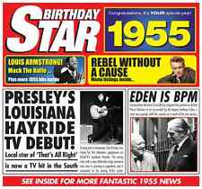 62nd 1955 Birthday Gifts - 1955 Chart Hits Pop Music CD and 1955 Greetings Card
