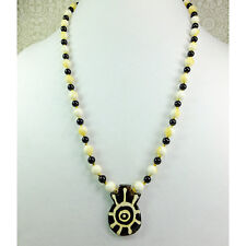 Bone Pendant Sun Design with Cream Calcite Stone Beads & Black Beads Necklace