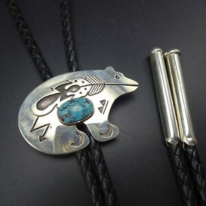 Randy Secatero NAVAJO Sterling Silver TURQUOISE Bear Fetish BOLO Tie Cool Tips
