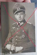 original Foto Portrait Leutnant HEER mit EK I und Degen Säbel  Fotostudio