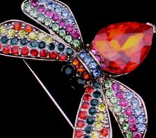 """RED PINK GREEN FLYING BUG INSECT BEETLE WASP BUMBLE BEE PIN BROOCH JEWELRY 1.75"""""""