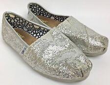 TOMS Silver Glitter Classic Flat Women's Shoes Sz 6