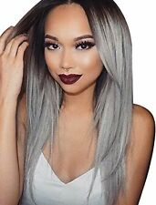 Kalyss Women''s Long Straight Dark Roots Ombre Black to Gray Synthetic Hair Wig