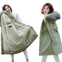 Women's L-6XL Parkas Faux Fur Collar Lined Hooded Snow Jacket Casual Coat Warm L