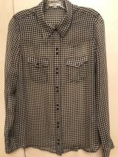 Equipment Femme Black White Geometric  Size M Button Down Silk Sheer Blouse