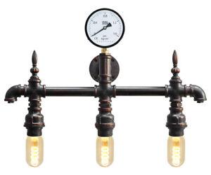 Vintage Industrial Rustic 3 Way Waterpipe Wall Light Metal Gauge Lamp M0192