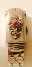 Vintage 1933 Art Deco Watch 14k Solid White Gold With Ruby  48.6 Grams No Name