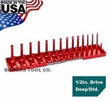 "Hansen Global 1/2"" Drive Standard SAE Inch Regular & Deep Socket Tray Organizer"