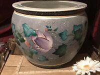 "Asian Porcelain Fishbowl Planter Textured Floral, Koi Fish Inside 12""x10"""