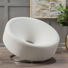 Home Loft Concept Dion Leather Modern Round Chair White