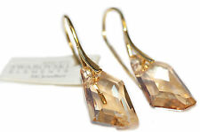 18mm De-Art Crystals From Swarovski® Gold Over Sterling Silver Hook Earrings.