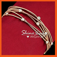 18k Rose Gold GF Br106 Lady Bridal Multi Chain Bangle Bracelet Simulated Diamond
