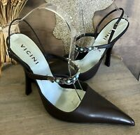 NWOT VICINI Brown Leather Jeweled Straps Sandal Heel Size 39.5