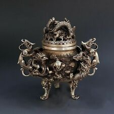 Tibet Exquisite Pure Silver 9 Dragon Beast Lion Head Incense Burner