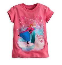 Disney Store Elsa & Anna Sisters Frozen Pink Princess Shirt Girls sz 7/8 New