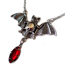 Gothic Victorian Bat Necklace Silver Choker Vampire Jewelry Halloween Costume