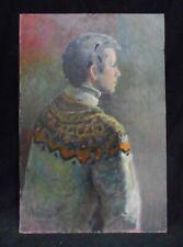 1970's Era Oil Painting Portrait New Hope School B. Ungerleider Teen Ski Sweater